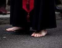 Member of a brotherhood files barefeet through the streets of Valladolid during a procession in the Holy Week of Spain. Valladolid, Spain. March 28, 2013 (Victor Blanco/ Alterphotos) /NortePhoto