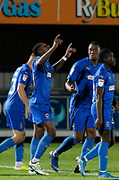GOAL - Michael Folivi of AFC Wimbledon points skywards after scoring during the The Leasing.com Trophy match between AFC Wimbledon and Leyton Orient at the Cherry Red Records Stadium, Kingston, England on 8 October 2019. Photo by Carlton Myrie / PRiME Media Images.