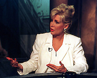 "Washington, DC - June 15,1998 -- Gennifer Flowers is interviewed on the CNBC program ""Hardball with Chris Matthews"".Credit: Ron Sachs / CNP/MediaPunch (RESTRICTION: NO New York or New Jersey Newspapers or newspapers within a 75 mile radius of New York City)"