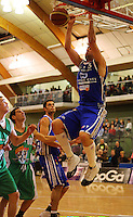 Kevin Owens slamdunks during the NBL Round 14 match between the Manawatu Jets  and Wellington Saints. Arena Manawatu, Palmerston North, New Zealand on Saturday 31 May 2008. Photo: Dave Lintott / lintottphoto.co.nz