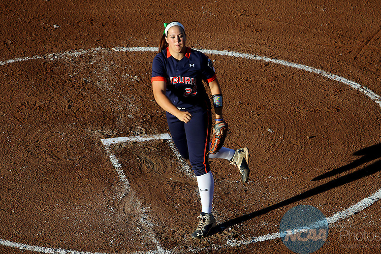 06 JUNE 2016: Lexi Davis (23) of Auburn University delivers a pitch against University of Oklahoma during the Division I Women's Softball Championship held at ASA Hall of Fame Stadium in Oklahoma City, OK. University of Oklahoma defeated Auburn University in Game 1 by the final score of 3-2. Shane Bevel/NCAA Photos
