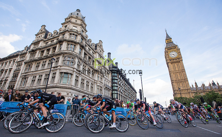 Picture by Alex Whitehead/SWpix.com - 14/09/2014 - Cycling - 2014 Friends Life Tour of Britain - Stage 8b, London Circuit Race - The peloton ride past Big Ben during Stage 8b in London.
