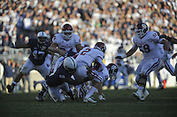 17 November 2012:  Penn State's Deion Barnes (18) sacks Indiana QB Cameron Coffman (2).  The Penn State Nittany Lions defeated the Indiana Hoosiers 45-22 at Beaver Stadium in State College, PA.