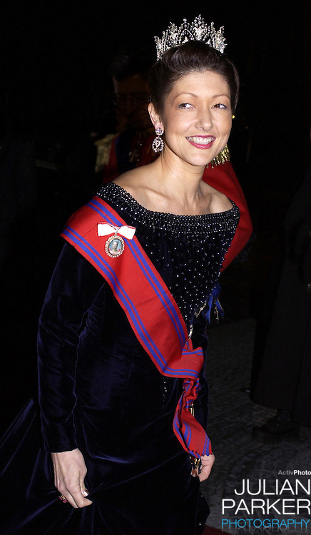 Princess Alexandra of Denmark attends a State Banquet at Amalienborg Palace during the State Visit of H.E Mr Ion Iliescu, The President of Romania..