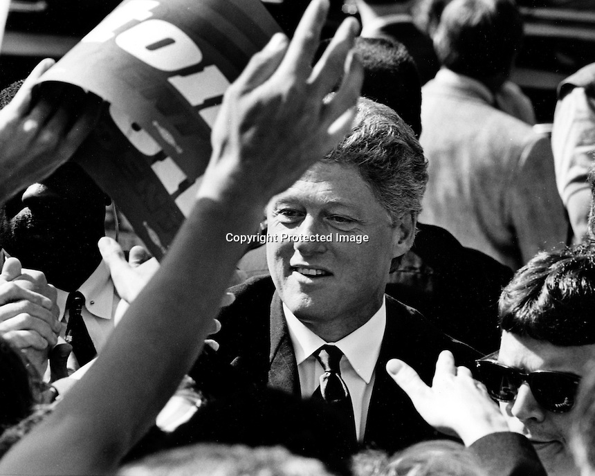 Bill Clinton campaigning in San Francisco 1992.(photo by Ron Riesterer)