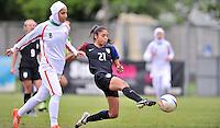 Monfalcone, Italy, April 26, 2016.<br /> USA's #21 Mendoza kicks the ball during USA v Iran football match at Gradisca Tournament of Nations (women's tournament). Monfalcone's stadium.<br /> &copy; ph Simone Ferraro / Isiphotos