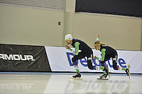 SPEED SKATING: SALT LAKE CITY: 19-11-2015, Utah Olympic Oval, ISU World Cup, training, Gianni Romme (trainer/coach Team Continu), Marianne Timmer (trainer/coach Team Continu), ©foto Martin de Jong
