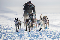 Ray Redington Jr. runs on the sea ice as he approaches Nome on Wednesday March 14th in the 46th running of the 2018 Iditarod Sled Dog Race.  <br /> <br /> Photo by Jeff Schultz/SchultzPhoto.com  (C) 2018  ALL RIGHTS RESERVED