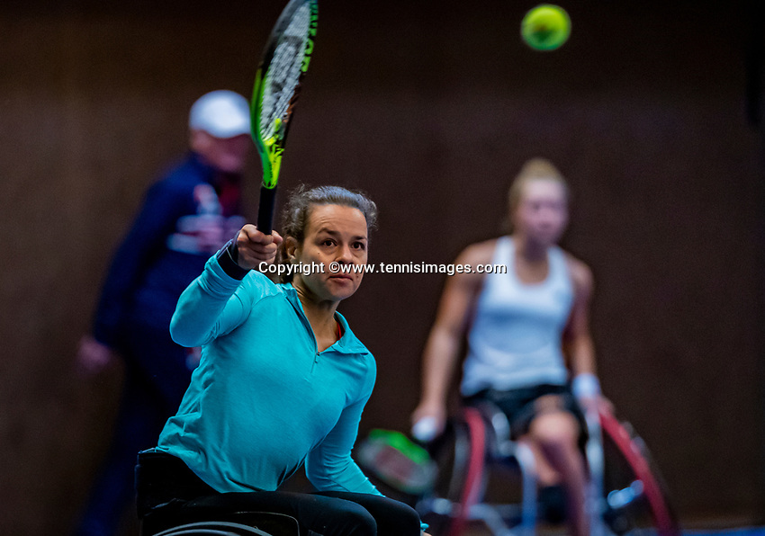 Alphen aan den Rijn, Netherlands, December 15, 2018, Tennispark Nieuwe Sloot, Ned. Loterij NK Tennis, Semifinal womens doubles wheelchair: Dide de Groot (R) and Marjolein Buis  (NED)<br /> Photo: Tennisimages/Henk Koster