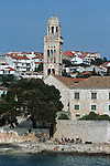 .Hvar Island. Hvar harbour. Church and fransican convent (XVe). Built in the XVI  century.Cruise in Croatia. Island of Dalmatia