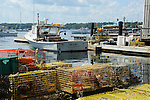 Lobster Boats and Lobster Pots in Harbor in Maine, USA