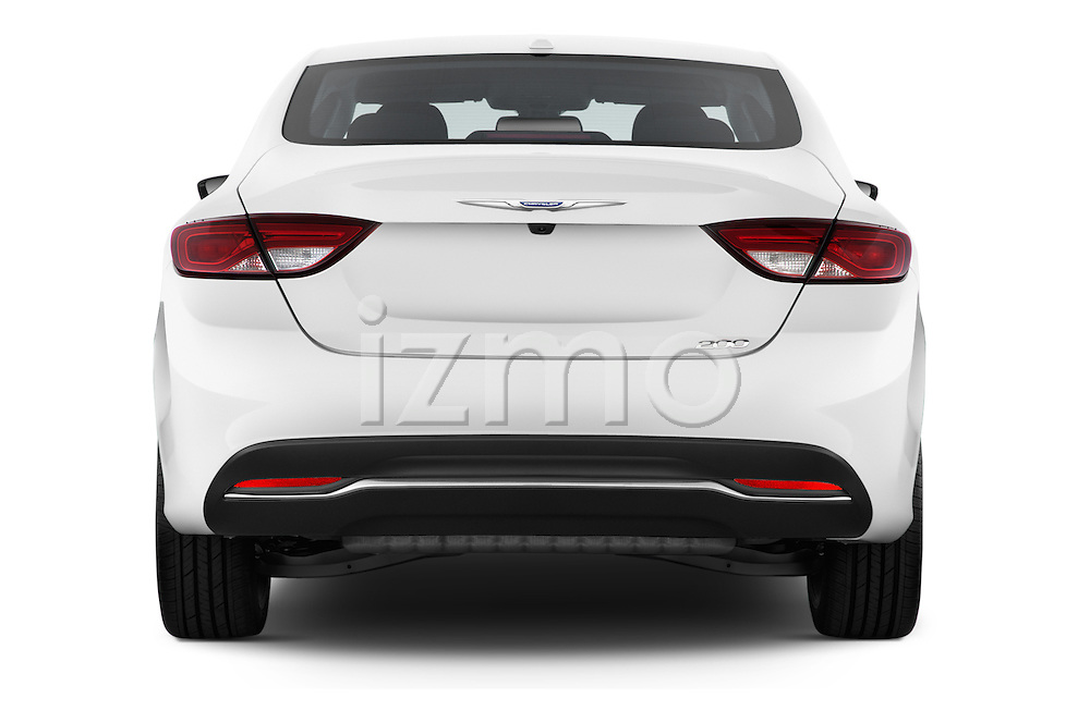 Straight rear view of a 2015 Chrysler 200 Limited 4 Door Sedan 2WD Rear View  stock images