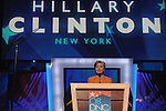 Hillary Clinton speaks before the Democratic National Convention at the Pepsi Center in Denver, Colorado on August 26, 2008.