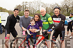 At the Down Syndrome Ireland cycle fundraiser at the Ballyseedy Garden Centre on Saturday morning.<br /> L to r: Jenny Kiely seated on the bike, Aidan O'Mahoney, Brendan Fuller, Madeline Doyle, Jimmy Dennihan and John O'Keeffe.
