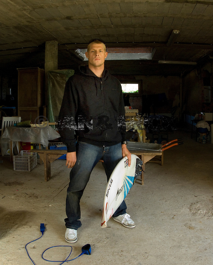Mick Fanning with his favourite board in Bachio, Spain.