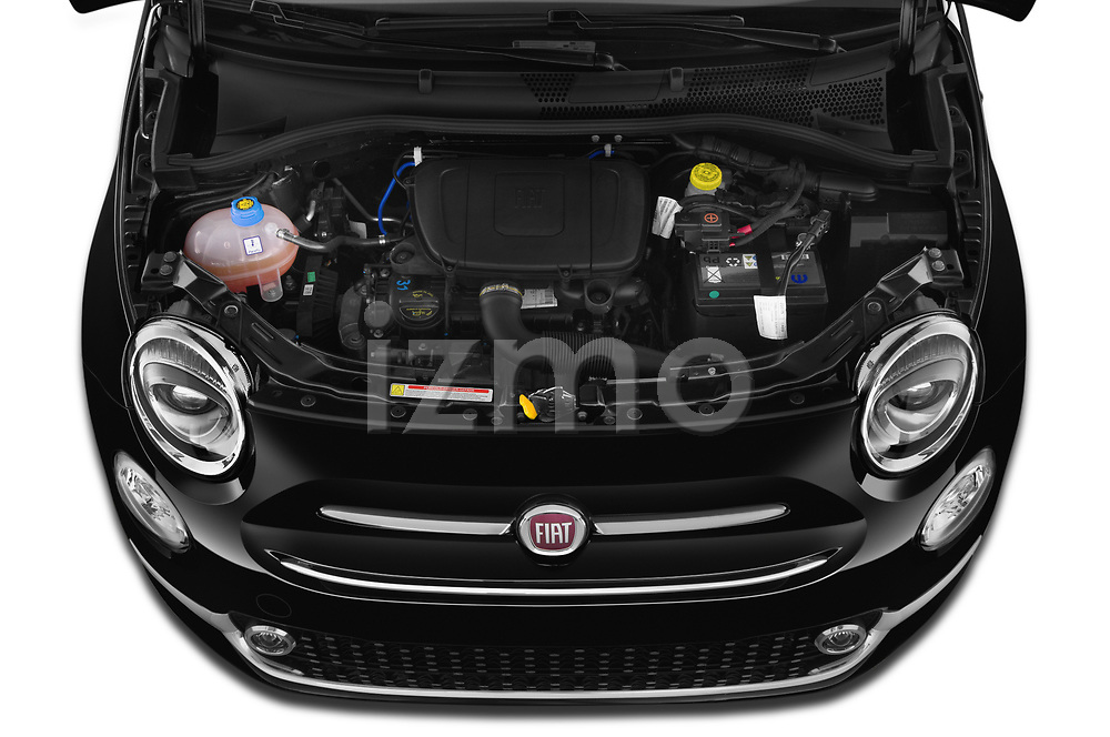 Car Stock 2020 Fiat 500 S8-Star 3 Door Hatchback Engine  high angle detail view