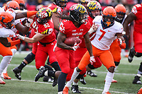 College Park, MD - October 27, 2018: Maryland Terrapins running back Anthony McFarland (5) runs the ball during the game between Illinois and Maryland at  Capital One Field at Maryland Stadium in College Park, MD.  (Photo by Elliott Brown/Media Images International)