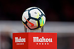 The La Liga official ball, Nike Ordem V Match Ball, is seen prior to the La Liga 2017-18 match between Atletico de Madrid and CD Leganes at Wanda Metropolitano on February 28 2018 in Madrid, Spain. Photo by Diego Souto / Power Sport Images