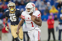 Annapolis, MD - OCT 8, 2016: Houston Cougars quarterback Greg Ward Jr. (1) rolls out of the pocket during game between Houston and Navy at Navy-Marine Corps Memorial Stadium Annapolis, MD. The Midshipmen upset #6 Houston 46-40. (Photo by Phil Peters/Media Images International)