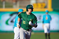 Beloit Snappers Nick Osborne (21) rounds the bases after hitting a home run during a Midwest League game against the Lansing Lugnuts at Cooley Law School Stadium on May 4, 2019 in Lansing, Michigan. Beloit defeated Lansing 2-1. (Zachary Lucy/Four Seam Images)