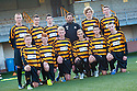 Alloa Manager Paul Hartley with the kids who have all came through the youth system and have all featured in the first team squad this season.