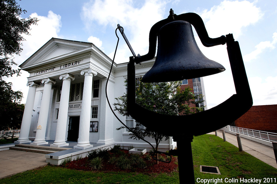 BLACK ARCHIVES: The bell once used to signal the changing of classes stands outside the Carnegie Library building now home to the Black Archives on the campus of Florida A&M University in Tallahassee..COLIN HACKLEY PHOTO