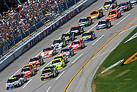 The cars come to the line for the start of the Aaron's 499 at Talladega Superspeedway, Talladega, AL, April 17, 2011.  (Photo by Brian Cleary/www.bcpix.com)