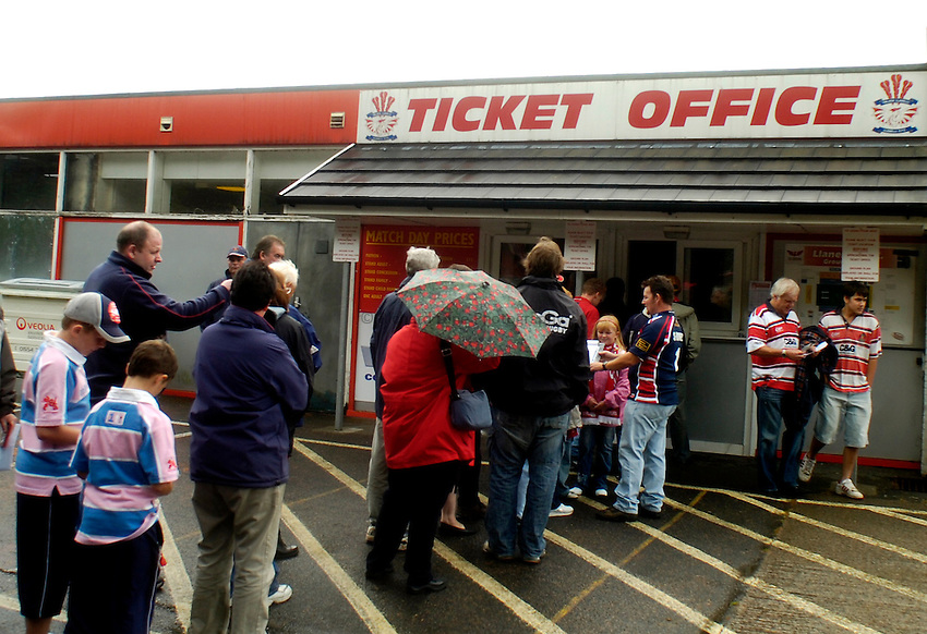 Photo: Alan Crowhurst..Llanelli Scarlets v Gloucester Rugby. Pre Season Friendly. 19/08/2006. Ticket Office at Stradey Park, home to Llanelli Scarlets.