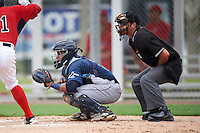 GCL Rays catcher Alexander Alvarez (8) and umpire Ross Sheridan await the pitch during the second game of a doubleheader against the GCL Red Sox on August 9, 2016 at JetBlue Park in Fort Myers, Florida.  GCL Rays defeated GCL Red Sox 9-1.  (Mike Janes/Four Seam Images)