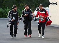 Wednesday 07 August 2013<br /> Pictured L-R: Alejandro Pozuelo, Angel Rangel and Lee Trundle departing from the Swansea Training ground.  <br /> Re: Swansea City FC travelling to Sweden for their Europa League 3rd Qualifying Round, Second Leg game against Malmo.