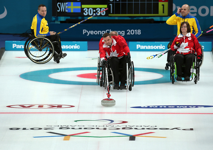 Pyeongchang, Korea, 11/3/2018-Canada plays Sweden in Wheelchair curling during the 2018 Paralympic Games in PyeongChang. Photo Scott Grant/Canadian Paralympic Committee.