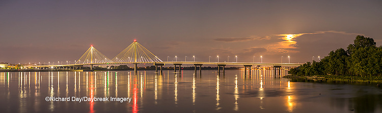 63895-15511 Clark Bridge over Mississippi River at night and full moon Alton, IL