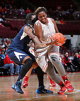 Ohio State Buckeyes center Darryce Moore (22) is guarded by Old Dominion Lady Monarchs forward Odegua Oigbokie (34) during Friday's NCAA Division I basketball game at Value City Arena in Columbus on November 22, 2013. Ohio State led at halftime, 36-26. (Barbara J. Perenic/The Columbus Dispatch)