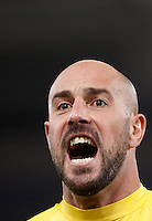 Calcio, Serie A: Lazio vs Napoli. Roma, stadio Olimpico, 3 febbraio 2016.<br /> Napoli's goalkeeper Pepe Reina celebrates at the end of the Italian Serie A football match between Lazio and Napoli at Rome's Olympic stadium, 3 February 2016. Napoli won 2-0.<br /> UPDATE IMAGES PRESS/Isabella Bonotto