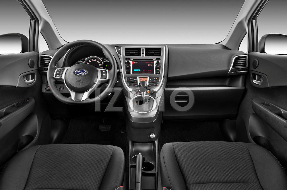 Straight dashboard view of a 2011 Subaru Trezia Comfort 5 Door Hatchback.
