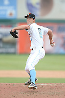 Alan Busenitz (8) of the Inland Empire 66ers pitches during a game against the Stockton Ports at San Manuel Stadium on June 28, 2015 in San Bernardino, California. Stockton defeated Inland Empire, 4-1. (Larry Goren/Four Seam Images)