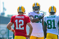 Green Bay Packers quarterback Aaron Rodgers (12) and tight end Martellus Bennett (80) during a training camp practice on August 15, 2017 at Ray Nitschke Field in Green Bay, Wisconsin.   (Brad Krause/Krause Sports Photography)