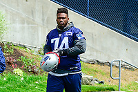 June 7, 2017: New England Patriots defensive lineman Woodrow Hamilton (74) walks to practice at the New England Patriots mini camp held on the practice field at Gillette Stadium, in Foxborough, Massachusetts. Eric Canha/CSM