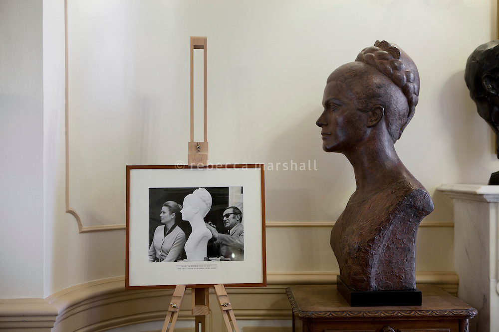 Bust of Princess Grace created in 1970 by sculptor Lucien Gibert on display in the Princess Grace Irish Library, Monaco, 6 July 2013