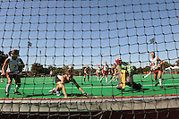 Stanford, CA - SEPTEMBER 27:  Midfielder Midori Uehara #3 (far right) of the Stanford Cardinal scores a goal during Stanford's 7-0 win against the Pacific Tigers on September 27, 2008 at the Varsity Field Hockey Turf in Stanford, California.