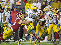 Green Bay Packers tight end Jared Cook (89) is tackled by Washington Redskins inside linebacker Will Compton (51) and cornerback Quinton Dunbar (47) in fourth quarter action at FedEx Field in Landover, Maryland on Sunday, November 20, 2016.  The Redskins won the game 42 - 24.<br /> Credit: Ron Sachs / CNP /MediaPunch