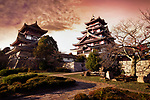 Fushimi Castle, Fushimi-jo in Kyoto, also known as Fushimi-Momoyama Castle or Momoyama Castle famous for its golden tea room. Colorful red sunset autumn scenery. Azuchi–Momoyama period Japanese castle in Fushimi-ku ward, Kyoto, Japan 2017