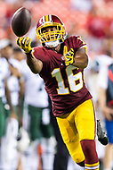 Landover, MD - August 16, 2018: A pass is throw just out of the reach of Washington Redskins wide receiver Shay Fields (16) during preseason game between the New York Jets and Washington Redskins at FedEx Field in Landover, MD. (Photo by Phillip Peters/Media Images International)
