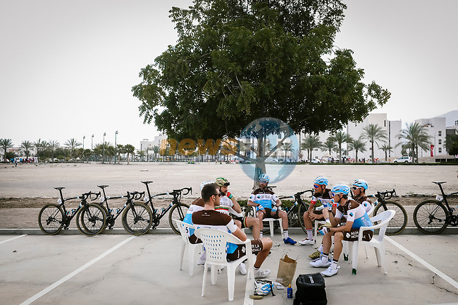 AG2R LaMondiale team riders relax before the start of Stage 4 of 10th Tour of Oman 2019, running 131km from Yiti (Al Sifah) to Oman Convention and Exhibition Centre, Oman. 19th February 2019.<br /> Picture: ASO/P. Ballet   Cyclefile<br /> All photos usage must carry mandatory copyright credit (© Cyclefile   ASO/P. Ballet)