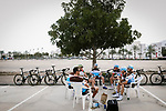 AG2R LaMondiale team riders relax before the start of Stage 4 of 10th Tour of Oman 2019, running 131km from Yiti (Al Sifah) to Oman Convention and Exhibition Centre, Oman. 19th February 2019.<br /> Picture: ASO/P. Ballet | Cyclefile<br /> All photos usage must carry mandatory copyright credit (&copy; Cyclefile | ASO/P. Ballet)