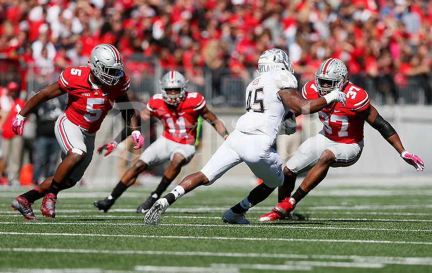 Ohio State Buckeyes linebacker Joshua Perry (37) gets after Maryland Terrapins running back Brandon Ross (45) in the second quarter of the college football game between the Ohio State Buckeyes and the Maryland Terrapins at Ohio Stadium in Columbus, Saturday afternoon, October 10, 2015. As of half time the Ohio State Buckeyes led the Maryland Terrapins 21 - 14. (The Columbus Dispatch / Eamon Queeney)
