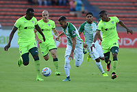 MEDELLIN -COLOMBIA, 9-AGOSTO-2017.Juan Nieto (Centro) jugador de Atlético Nacional  disputa el balón con  La Equidad durante partido por la fecha 6 de la Liga Aguila II 2017 jugado en el estadio Atanasio Girardot de la ciudad de  Medellín. / Juan Nieto (Center) player of Atlético Nacional vies for the ball with  La Equidad  during match for the date 6 of the Aguila League II 2017 played at Atanasio Girardot stadium in Medellin city . Photo:VizzoImage /León Monsalve  / Stringer