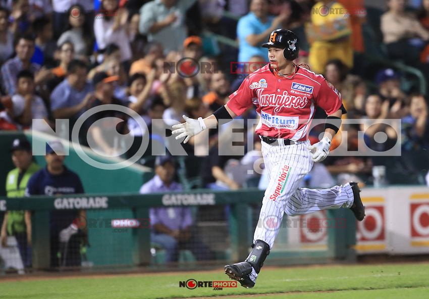 Home Run de Jose Juan Aguilar en la cuarta entrada, durante el partido2 de beisbol entre Naranjeros de Hermosillo vs Yaquis de Obregon. Temporada 2016 2017 de la Liga Mexicana del Pacifico.<br /> &copy; Foto: LuisGutierrez/NORTEPHOTO.COM