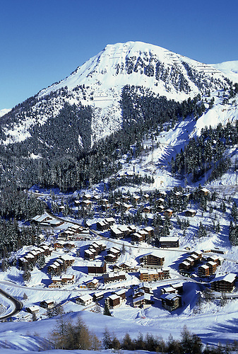 December 1990: General view of the alpine resort of La Plagne, France. Photo: Neale Haynes/actionplus..9012 winter sports snow snowy mountain alp recreation leisure holiday french ski skiing venue