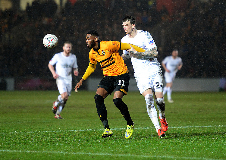 Newport County's Jamille Matt holds off Middlesbrough's Aden Flint<br /> <br /> Photographer Ian Cook/CameraSport<br /> <br /> Emirates FA Cup Fourth Round Replay - Newport County v Middlesbrough - Tuesday 5th February 2019 - Rodney Parade - Newport<br />  <br /> World Copyright &copy; 2019 CameraSport. All rights reserved. 43 Linden Ave. Countesthorpe. Leicester. England. LE8 5PG - Tel: +44 (0) 116 277 4147 - admin@camerasport.com - www.camerasport.com